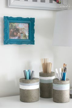 DIY Concrete Vases [from tin cans] - modern & chic concrete vases using chalk paint and a silver leaving pen :)