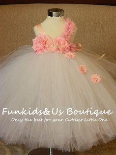 White Pink Flower girl tutu dress-Shabby by FunkidsandUsBoutique