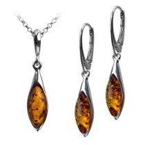 Sterling Silver Amber Marquise Drop Leverback Earrings Necklace Set 18 Inches