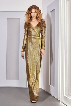 Diane von Furstenberg   Fall 2016 Ready-to-Wear   37 Gold sequined belted long sleeve maxi dress
