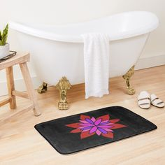 """Lotus Star Design"" Bath Mat by Pultzar 