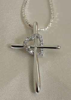 Sterling Silver Cross Heart CZ Necklace by StonedElements on Etsy