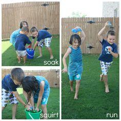 Splish Splash Boom - fun ideas for water games in the yard to beat the heat!  via @dougandmelissa