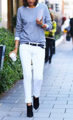 White jean Low boots Sweat shirt