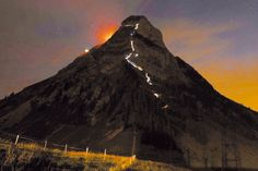 Climbers illuminate Moléson during a night climb in the Swiss Alps. Swiss Alps, Travel Articles, My Heritage, Climbers, Travel Ideas, Switzerland, Mount Everest, To Go, Spaces