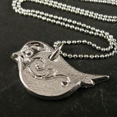 Plump Chickadee Pendant in Recycled Fine by amyabramsdesigns, $55.00