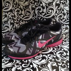 Nike chevron black grey pink rare Worn one time. In great condition. Rare Nike Shoes Athletic Shoes