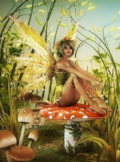 lovely digital art! # Digital art #.....a Fairy resting in her garden!