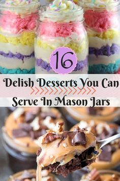 16 Delish Desserts You Can Serve In Mason Jars Mason Jar Deserts, Mason Jar Cupcakes, Mason Jars, Mason Jar Meals, Meals In A Jar, Cake In A Jar, Dessert In A Jar, Jars Of Sweets, Delicious Desserts