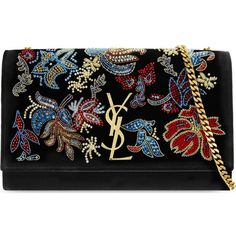 SAINT LAURENT Monogram medium velvet embroidered shoulder bag (4,575 BAM) ❤ liked on Polyvore featuring bags, handbags, shoulder bags, black multi, yves saint laurent, floral shoulder bag, beaded handbag, floral print handbags and monogrammed purses