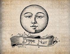 Antique Ornate Moon Bonne Nuit Digital Download for Papercrafts, Transfer, Pillows, etc Burlap No. 7887. $1.00, via Etsy.