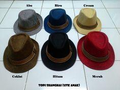 #Topi Shanghai (Utk Anak) ~ 60ribu ~ Panjang = 18cm, Lebar = 15cm. Warna : Abu, biru, cream, coklat, hitam, merah
