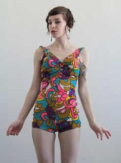 Vintage Jantzen Swimsuit with a mod floral pattern.  bathing suit