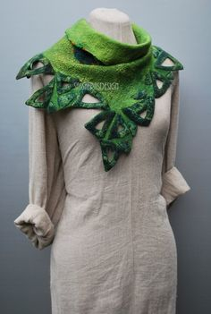 Extraordinary hand felted scarf wearable art Peter Pan pixie scarf