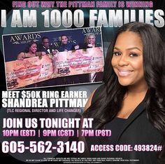 We're back Tonight! This Opportunity is too great not to share and help others! I Am 1000 Families! Ordinary people who's never been in the MLM industry before is earning extraordinarily income here at TLC. Dial-in and listen @7pm PST/10pm EST (605) 562-3140 Code 493824# Message me after the call or join us http://JoinRepID3191211 I'll meet you on the inside. #tlc #healthandwellness #industry #mlm #entrepreneur #workfromhome #parttime #liveyourdream