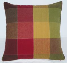 Red, Green, Gold, Brown Large Plaid Pillow Cover Case 18 inch Red Back, Fully Lined, Invisible Zipper, Handmade, Cotton, Country by BethsBounty on Etsy https://www.etsy.com/listing/208049476/red-green-gold-brown-large-plaid-pillow