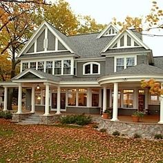 I don't pin houses...but this one is irresistible. Maybe it's the leaves on the lawn, but I can just picture fall evenings on the porch with a book and a sweater and hot apple cider...