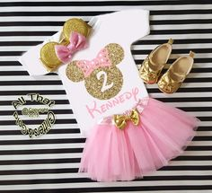 Pink and Gold Glitter Birthday Minnie Birthday Tutu Outfit Age 1 to 6