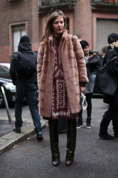 #AuroraSansone and her fur with a bit of boho going on. werk. Milan. #MFW #TamuMcPherson