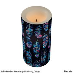 Boho Feather Pattern Flameless Candle Flameless Candles, Led Candles, Holiday Cards, Christmas Cards, Feather Pattern, Christmas Card Holders, Decorating Your Home, Keep It Cleaner, Boho