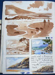 Some small watercolor studies from my sketchbook. Watercolor Wave, Watercolor Sketchbook, Watercolor Landscape, Art Sketchbook, Watercolour Painting, Landscape Paintings, Landscape Art Lessons, Fashion Sketchbook, Painting Flowers