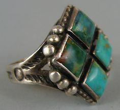UNUSUAL Vintage Harvey Era NAVAJO Turquoise Silver Ring Sz 7