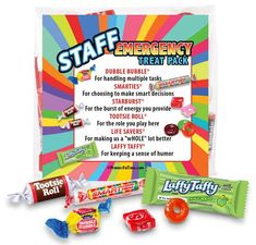 """employee appreciation ideas Our fun treat """"survival kit"""" pack comes with a handful of candy favorites that will motivate your staff members and provide them with a smile. Nurses Week Quotes, Nurses Week Gifts, Staff Gifts, Teacher Gifts, Ideas For Nurses Week, Team Gifts, Employee Appreciation Gifts, Employee Gifts, Teacher Appreciation Week"""