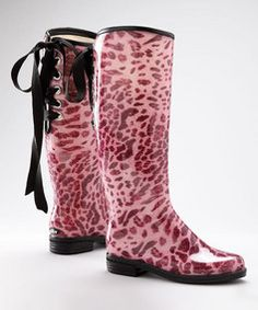 pink leopard rain boots WITH a ribbon. love these only $34.99