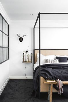 Daniel Mulligan ceramics adorn the main bedroom which adopts a minimalist modern-country aesthetic Home Decor Bedroom, Modern Bedroom, Minimalist Bedroom, Bedroom Design, Furniture, Bedroom Sets, Rustic Bedroom Furniture, Country House Decor, Modern Bedroom Furniture