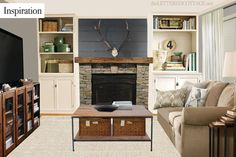 Keith's Living Room Makeover – Pick My Presto...love the built-ins, stone + wood beam fireplace, plank wall above--although I'd make it white | The Lettered Cottage