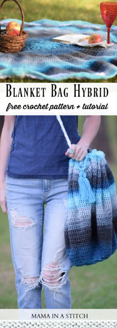 I created this blanket bag crochet pattern over the summer and can finally share it with you today!  You know that I love to make wearables, but it's awesome to change things up every now and then. This crocheted blanket doubles as a bag so it's quite unique and handy. Rather than trying to shove my park blanket into a bag with my snacks for a day outside, now I can fill my blanket and cinch it closed.  I'm thinking it makes a fun little beach bag too!  What do you think? The patt...