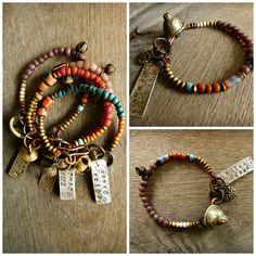"NOMAD TRIBE, Hipppie, Boho, Gypsy  bracelet.""Nomad Tribe"" silver tag bracelet, Ethnic bracelet, Bell, trade bead layered bracelet,"