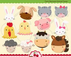 Farm Barnyard Kids Digital Clipart Set by Cherryclipart on Etsy