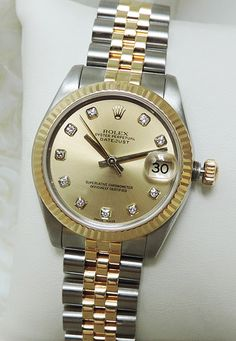 "Rolex Midsize Two Tone Diamond Dial Oyster Perpetual Women's Watch w/ Box 2006 ""Previously Enjoyed"" Price: $5,998"