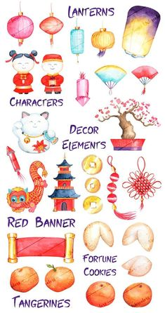Chinese New Year Watercolor Clipart by SunsetWatercolors on Creative Market - Bullet journal - Chinese New Year Crafts For Kids, Chinese New Year Dragon, Chinese New Year Activities, Chinese New Year Party, Chinese New Year Design, Chinese New Year Decorations, New Year Doodle, New Year Art, Origami