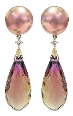 RUSSELL TRUSSO Maurasaki Ametrine Pearl Drop Earrings, One-of-a-Kind Ametrine Drop Earrings with Maurasaki pearls, diamonds, and 18k yellow gold accents.
