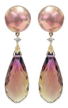 RUSSELL TRUSSO Maurasaki Ametrine Pearl Drop Earrings, One-of-a-Kind Ametrine Drop Earrings with Maurasaki pearls, diamonds, and 18k yellow gold accents.