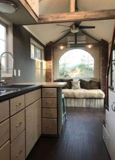 the clover tiny house on wheels by modern tiny living 54 Tiny House Cabin, Tiny House Living, Tiny House Plans, Tiny House On Wheels, Rv Living, Living Room, Tiny Home Floor Plans, Small Rustic House, Small Room Design
