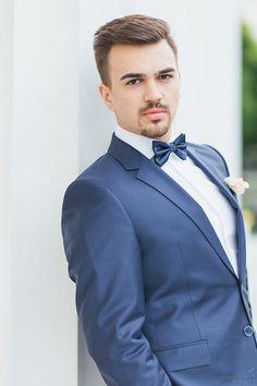 Groom, suit in dark blue Photo from Doris + Michael collection by die Ciuciu's Dory, Dark Blue, Groom, Suit Jacket, Blazer, Suits, Jackets, Wedding, Men