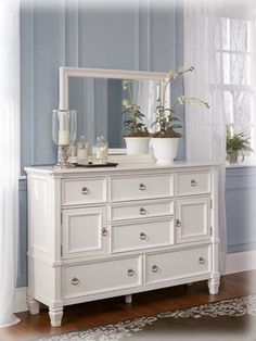 Prentice Cottage White Dresser And Bedroom Mirror
