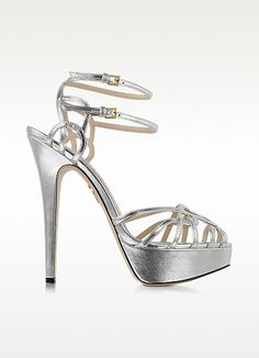 Ursula Silver Metallic Platform Sandal - Charlotte Olympia #WomensShoes