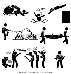 Man Helping People Saving Life Rescue Savior Stick Figure Pictogram Icon
