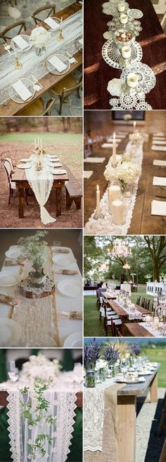 lace rustic and vintage wedding table runners
