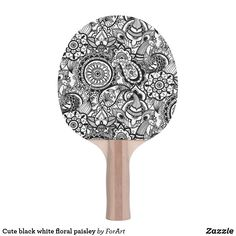 Shop Cute black white floral paisley Ping-Pong paddle created by ForArt. Ping Pong Paddles, Paisley, Two By Two, Black And White, Floral, Cute, Prints, Color, Design