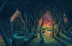 Reminiscent of the swirling strokes of Van Gogh's work, artist and illustrator James R. Eads paints colourful creations of outdoor scenes and people. The black backgrounds help to render the colours even...