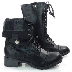 e7c9203726a Women s  Fashion  Shoes  Oralee Womens Black Military Combat  Boots w   Foldable