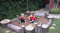 We just cut down a huge silver maple last week and used the stumps and branches to create this. It's still a work in progress … I'm collecti. Informations About We just cut down a huge silver maple Natural Play Spaces, Outdoor Play Spaces, Kids Outdoor Play, Kids Play Area, Backyard For Kids, Natural Playground, Backyard Playground, Backyard Fort, Outdoor Classroom