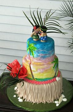 @Beth Lighty I found your wedding cake. Screw shells, we've got a fake grass skirt!  Hawaiian Wedding Cake by EB Cakes, via Flickr
