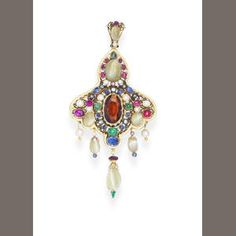 A pearl, enamel and gem-set pendant, c. 1860 In neo-renaissance style, the central oval-cut hessonite garnet, in a black and white enamel pie-crust collet, within a pierced lobular surround set with vari-cut cat's eye chrysoberyls, rubies, sapphires, emeralds, seed pearls and diamonds, the border highlighted with white enamel detail, the reverse with blue and black enamel detail, the whole suspending five pendants decorated with similar gems