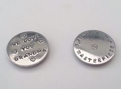 Handstamped aluminium fridge magnets, priced from £6.00.  Available from https://www.facebook.com/TinyTreasuresKeepsakes